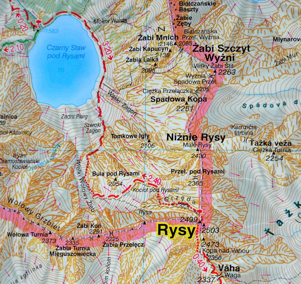 Rysy, mapa WiT