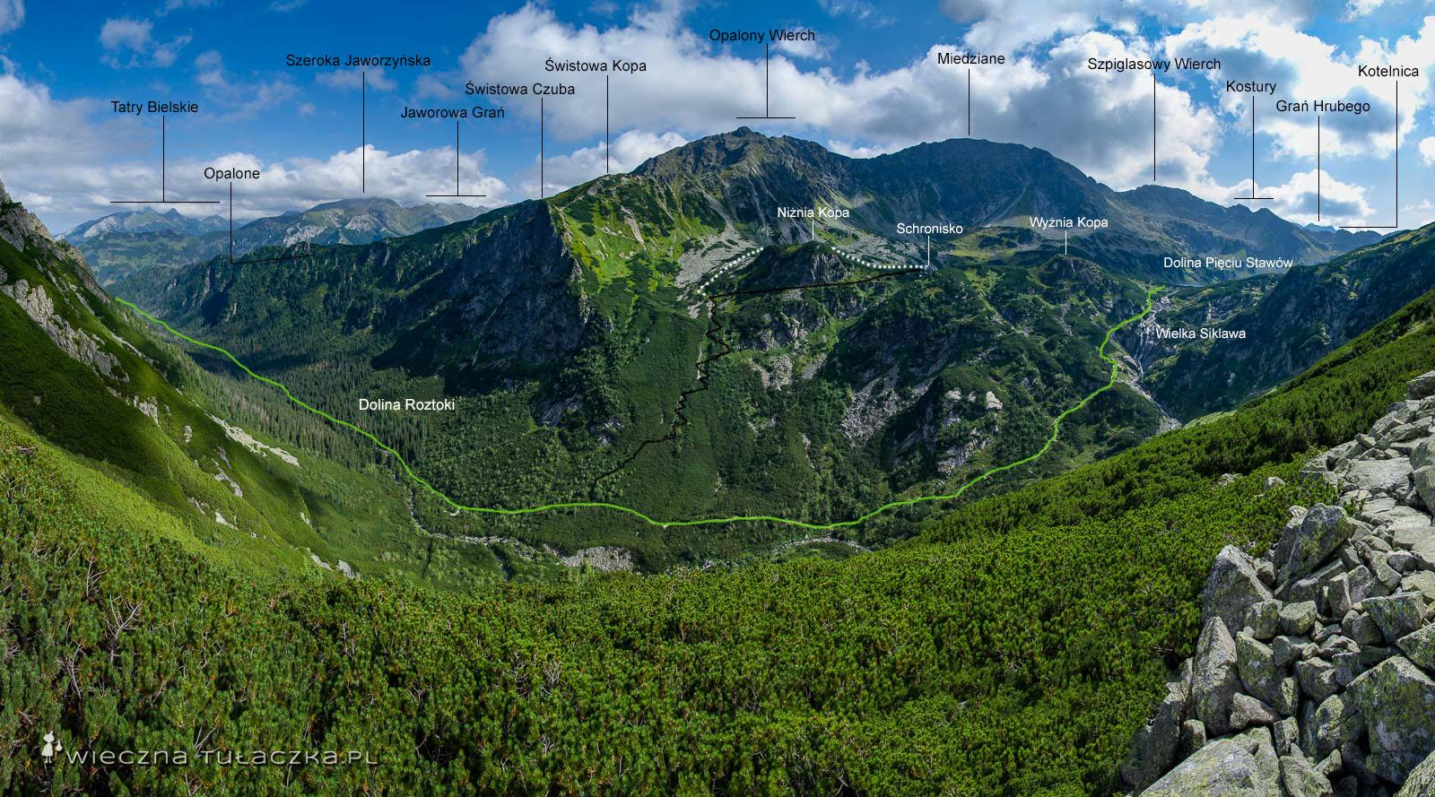 Dolina Roztoki ze szlaku na Krzyżne
