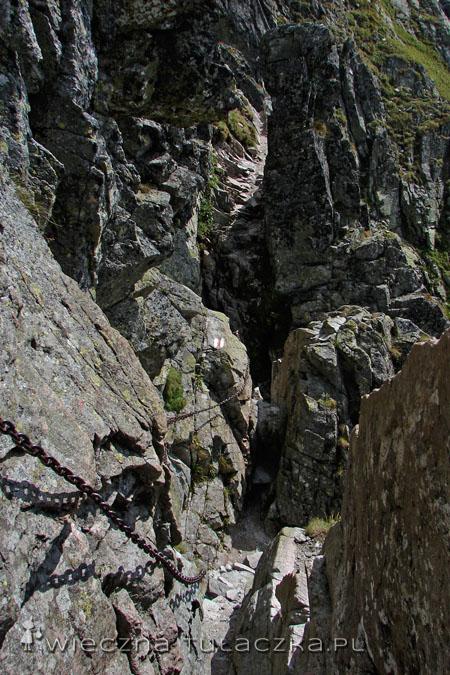 Komin w ścianie Wielkiej Buczynowej Turni