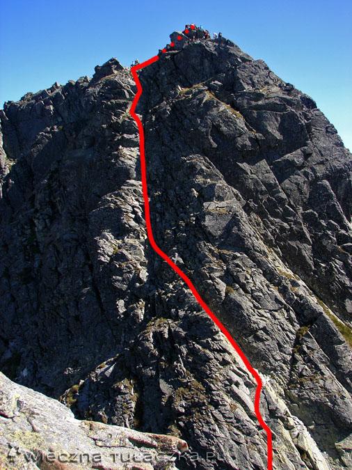 ...i ukazuje nam się cel wyprawy, czyli Kozi Wierch. Jednak zanim zaczniemy podejście zgodnie z czerwoną linią, przyjdzie nam zmierzyć się ze strachem!