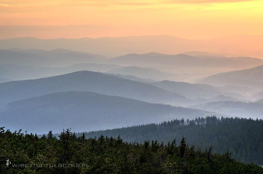 Mała Babia Góra, zachód słońca
