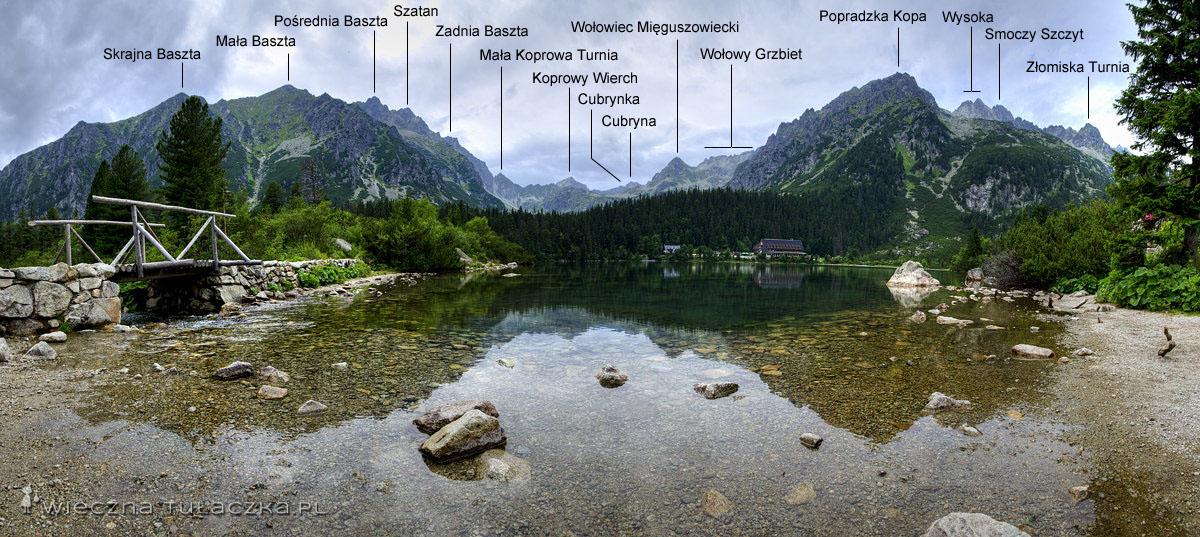 Popradzki Staw opisana panorama