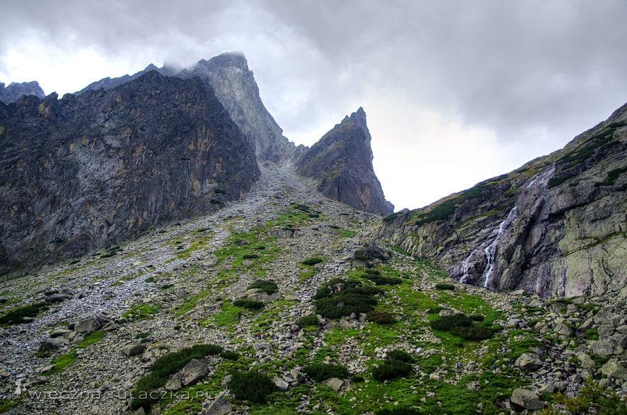 Dolina Małej Zimnej Wody, widok na Pośrednią Grań, Żółtą Ścianę i Złotą Siklawę
