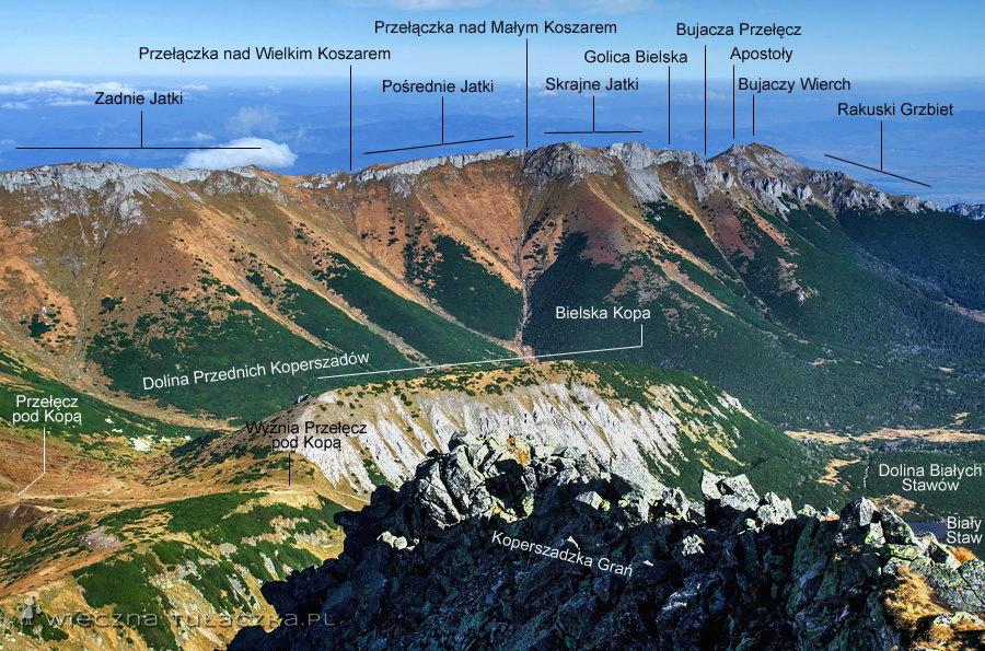 Płaczliwa Skała, Szeroka Przełęcz Bielska i Szalony Wierch. Szeroka Przełęcz dzieli Tatry Bielskie na Zachodnie i Wschodnie.