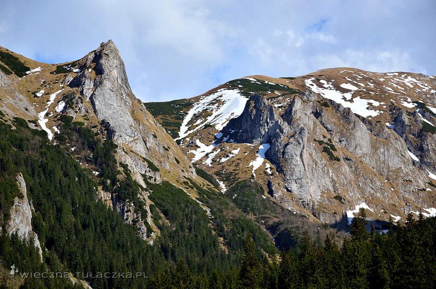 Dolina Małej Łąki, zbliżenie na Siodłowa Turnia oraz Mnichowe Turnie