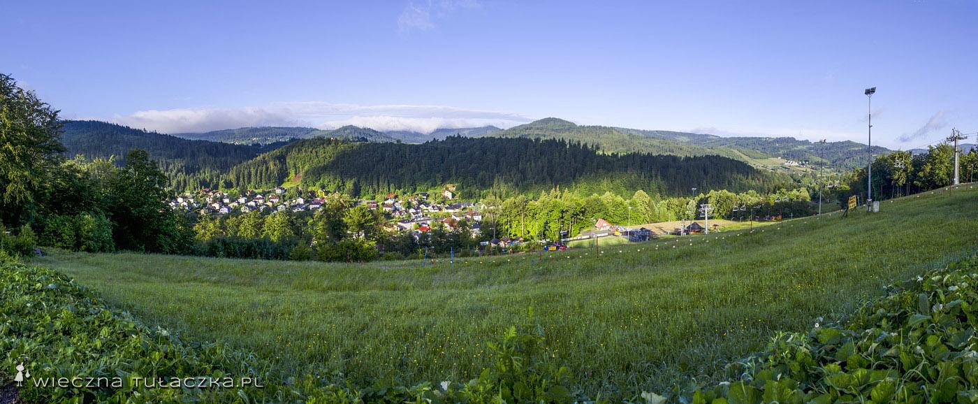 Panorama z Grapy, Beskid Śląski