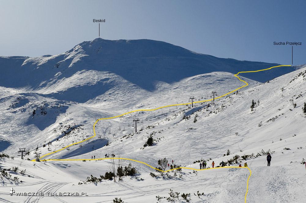 Zimowe podejście na Suchą Przełęcz