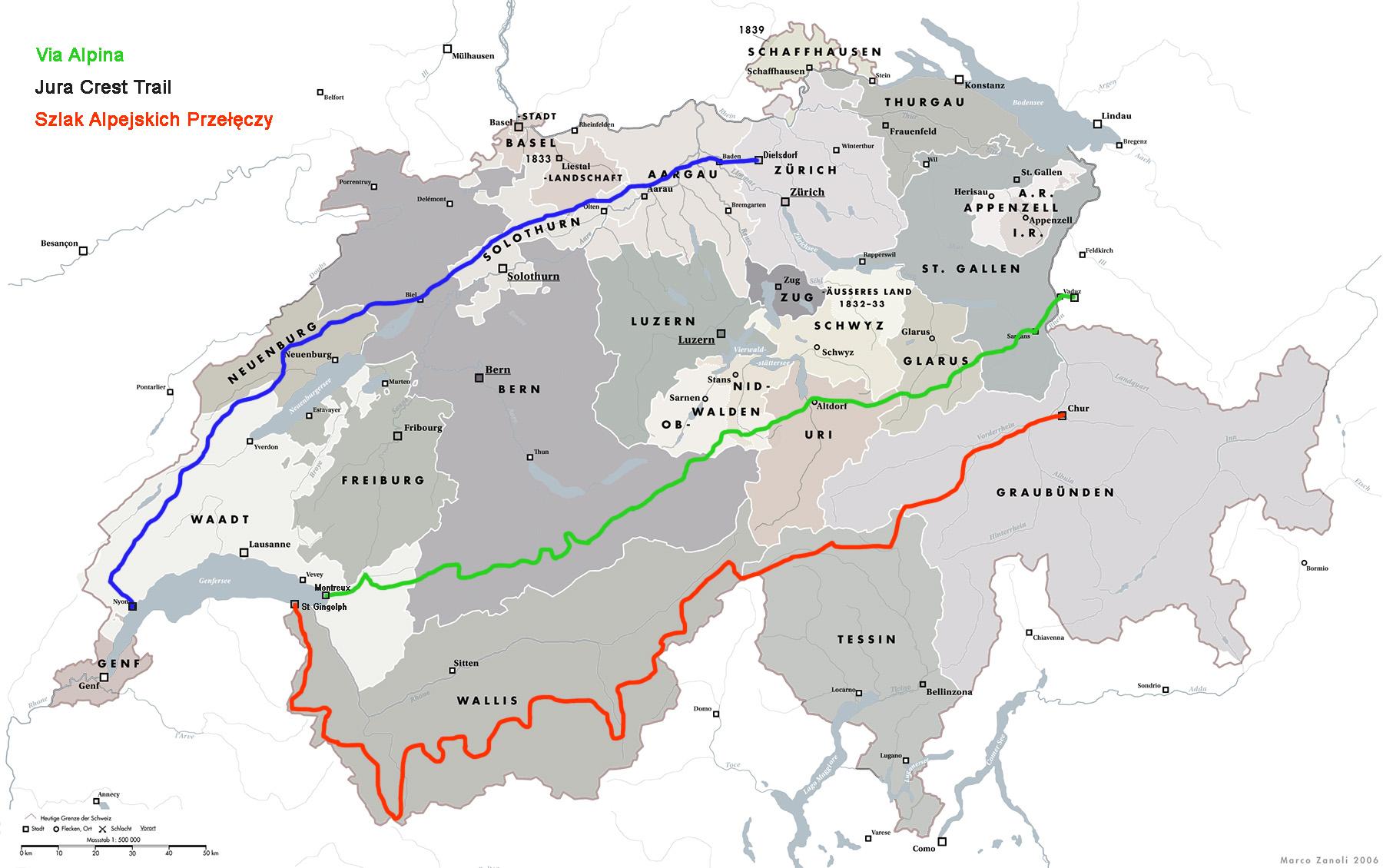 Szlaki długodystansowe w Szwajcarii