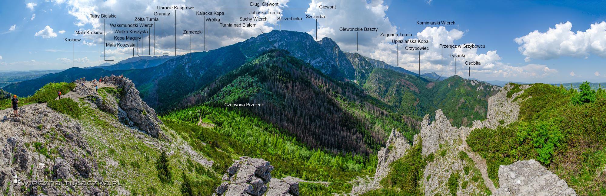Panorama z Sarniej Skały - opisana