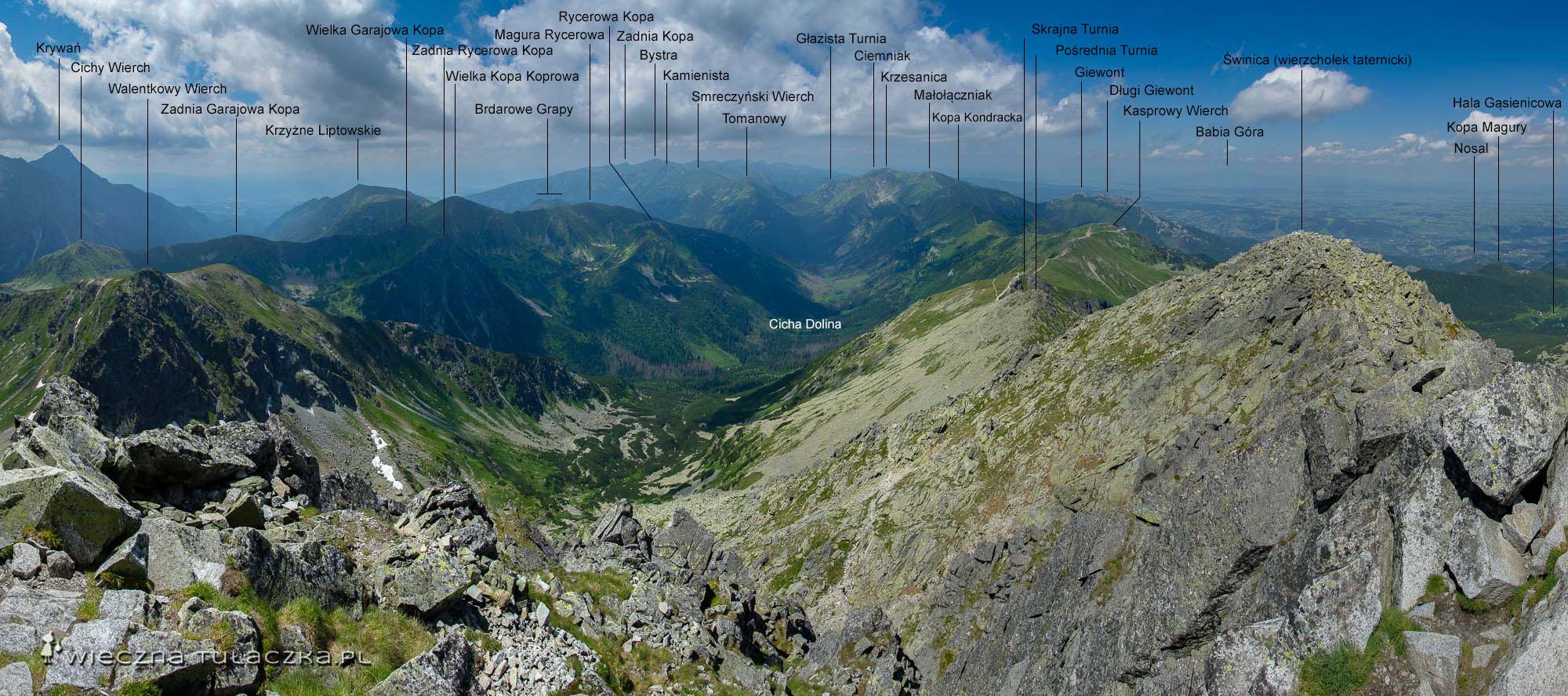 Panorama ze Świnicy na Tatry Zachodnie