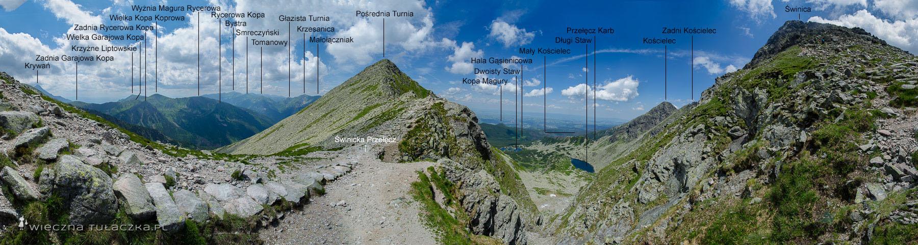 Świnicka Przełęcz, opis szlaku
