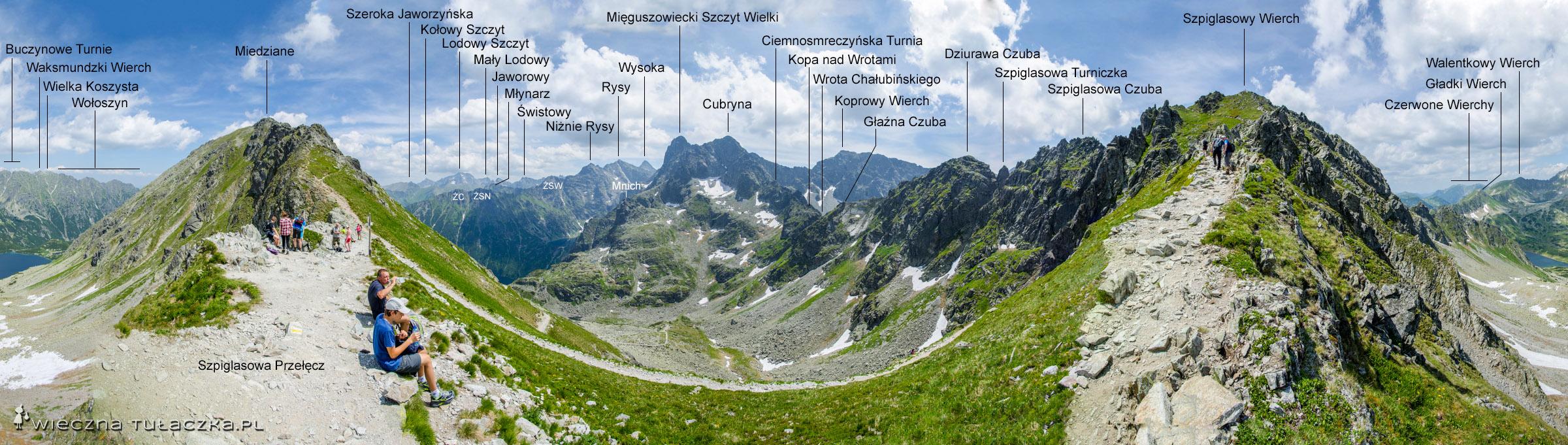 Panorama ze Szpiglasowej Przełęczy, widok na stronę Doliny Rybiego Potoku i Dolinki za Mnichem