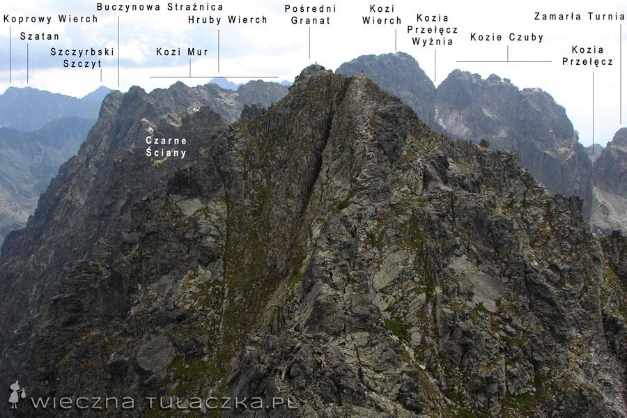 Pośredni Granat na pierwszym planie, dalej grań Orlej Perci wiodący przez Czarne Ściany, Kozi Wierch i Kozie Czuby
