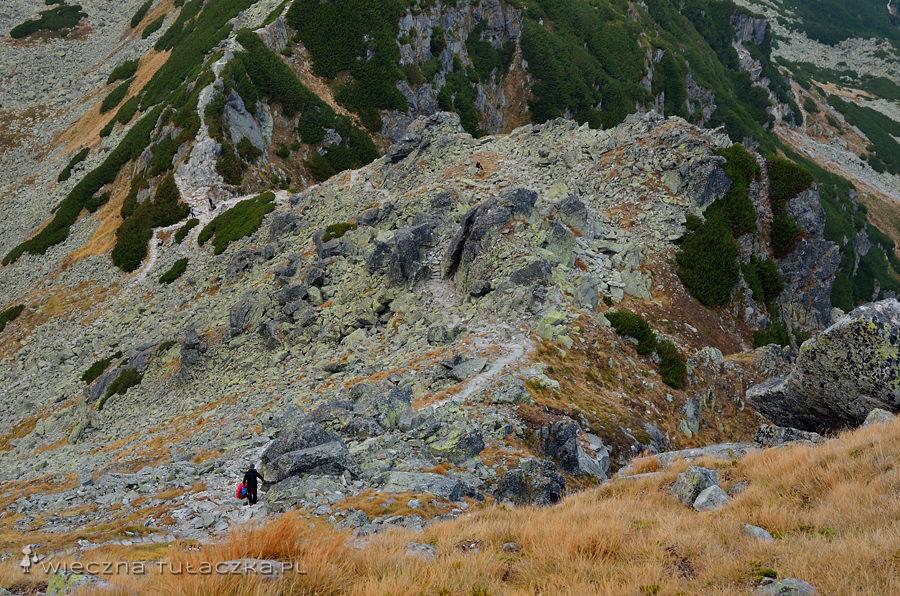 I to samo miejsce z dalszej ogległości. Po lewej Przełęcz Karb.