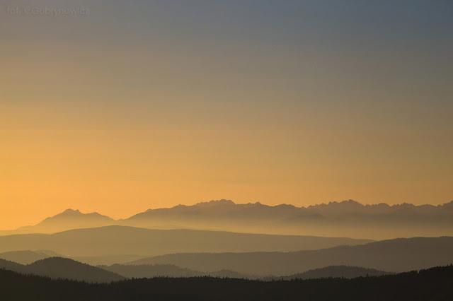 Zachód słońca z Wielkiej Raczy