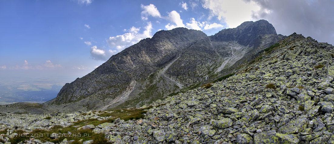 Od lewej: Huncowski Szczyt, Huncowska Przełęcz, Kieżmarski Szczyt, Mały Kieżmarski Szczyt.