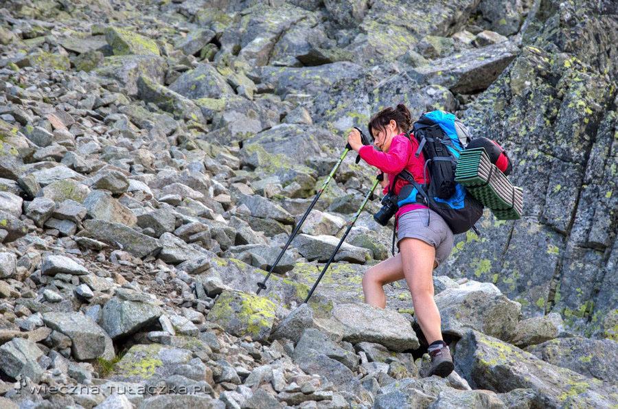 W drodze na Kieżmarski Szczyt - żleb opadający z Huncowskiej Przełęczy.