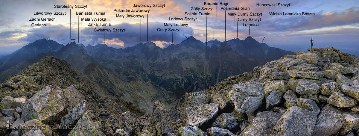 Sławkowski Szczyt, panorama z opisem