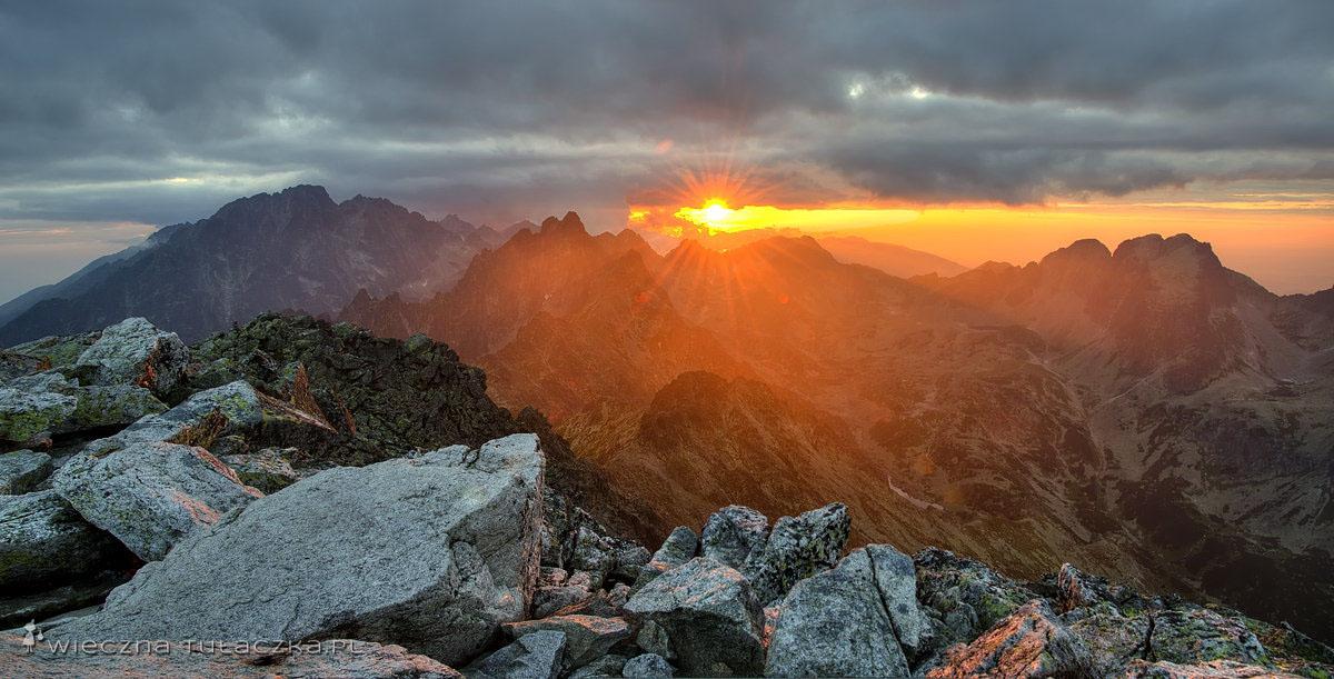 Sławkowski Szczyt, panorama o zachodzie słońca