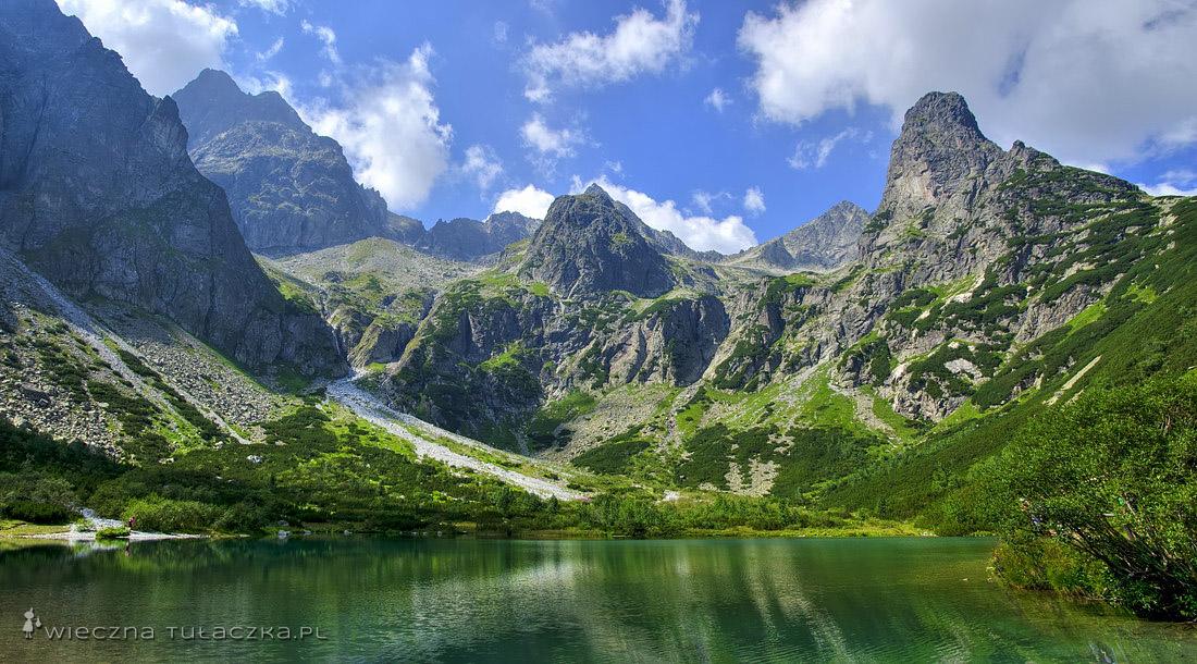 Zielony Staw Kieżmarski - panorama od Durnego Szczytu po Jastrzębią Turnię
