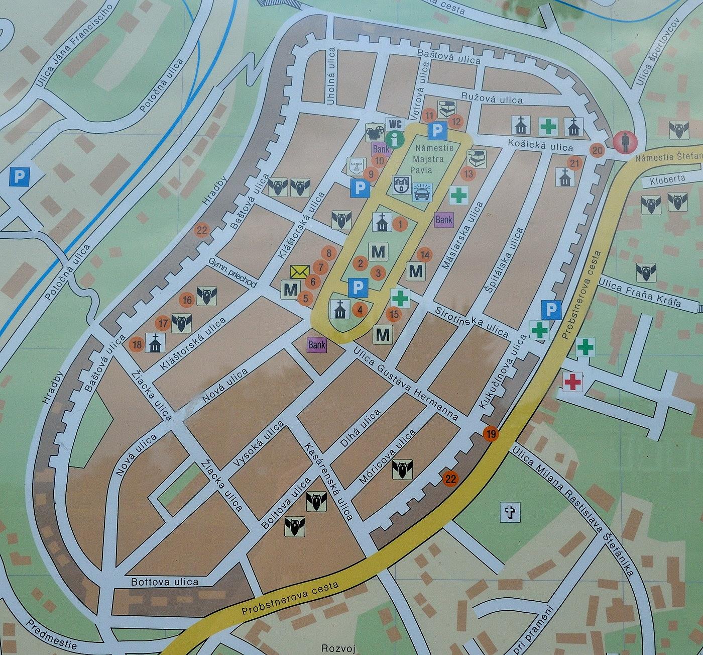 Lewocza - mapa zabytków