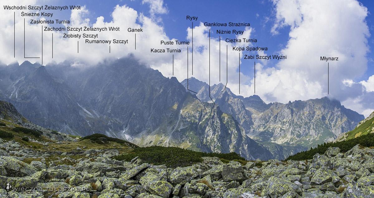 A w drugą stronę widok też nie najgorszy, obejmujący dwa szczyty z Wielkiej Korony Tatr: Ganek oraz Rysy.