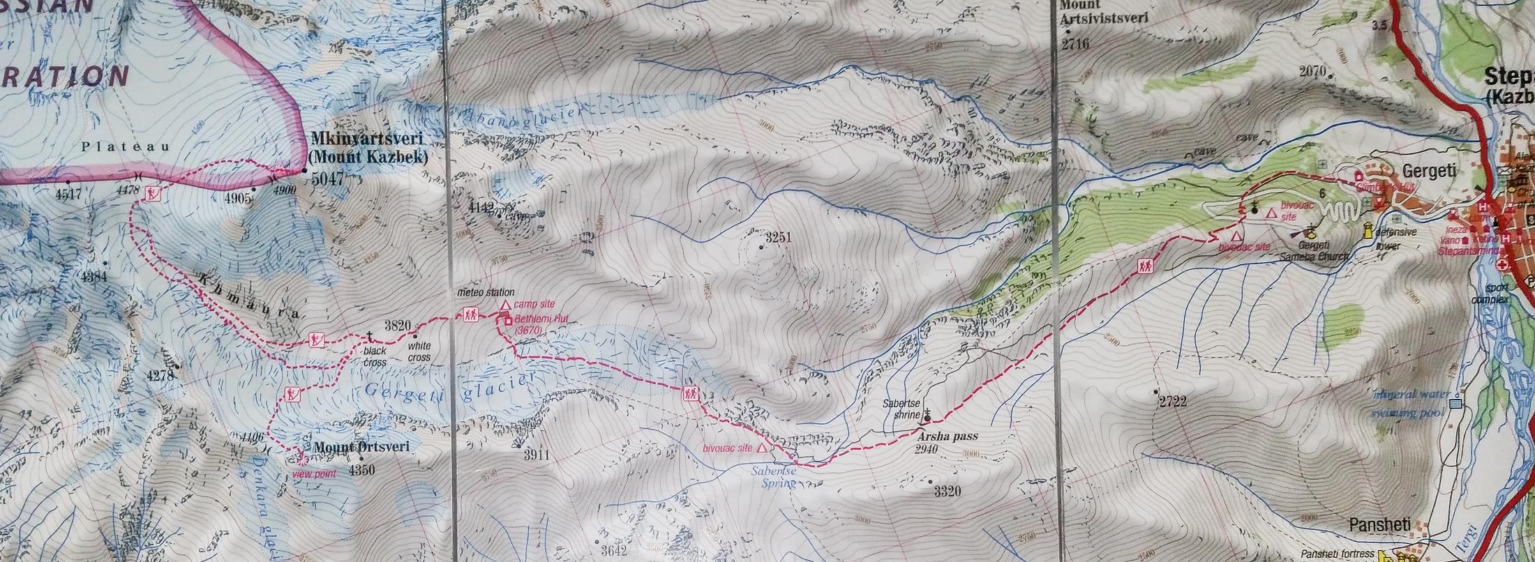 Kazbek - mapa