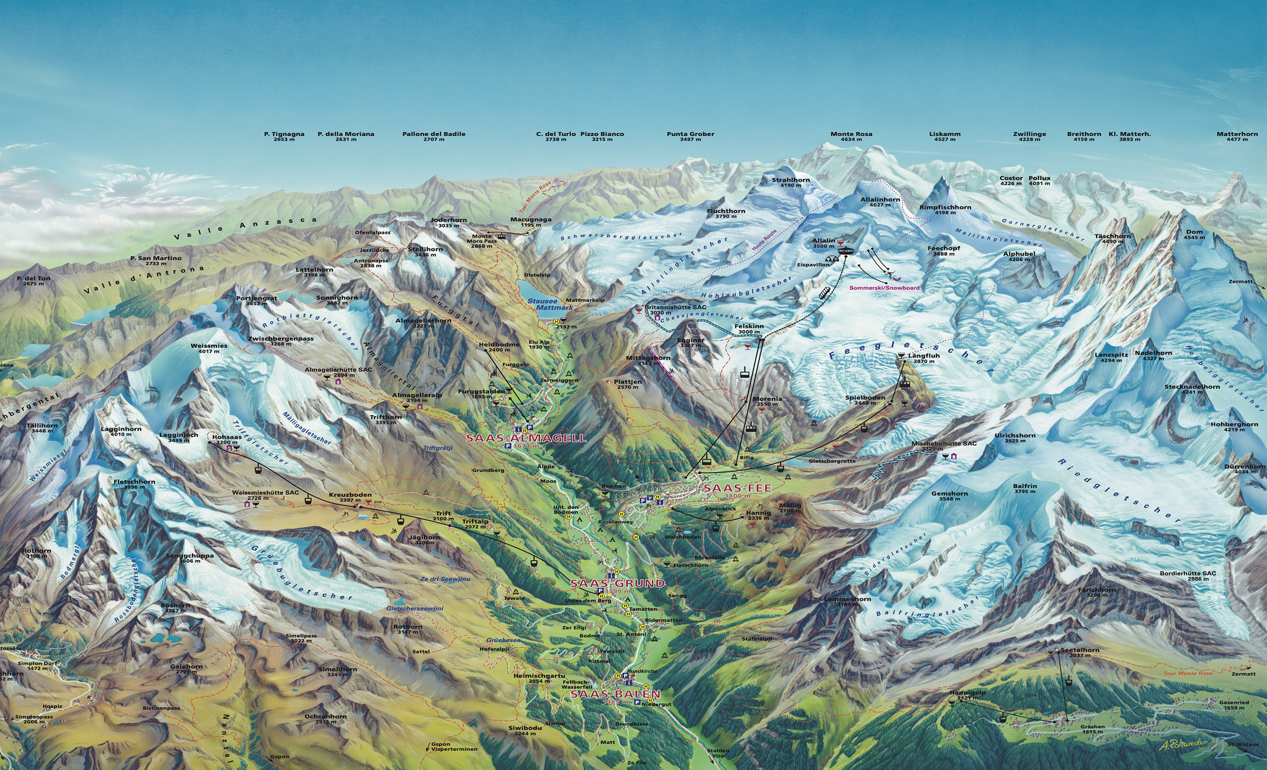 Saas-Fee mapa