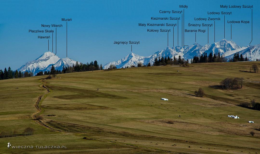 Tatry ze szlaków widokowych na Podhalu