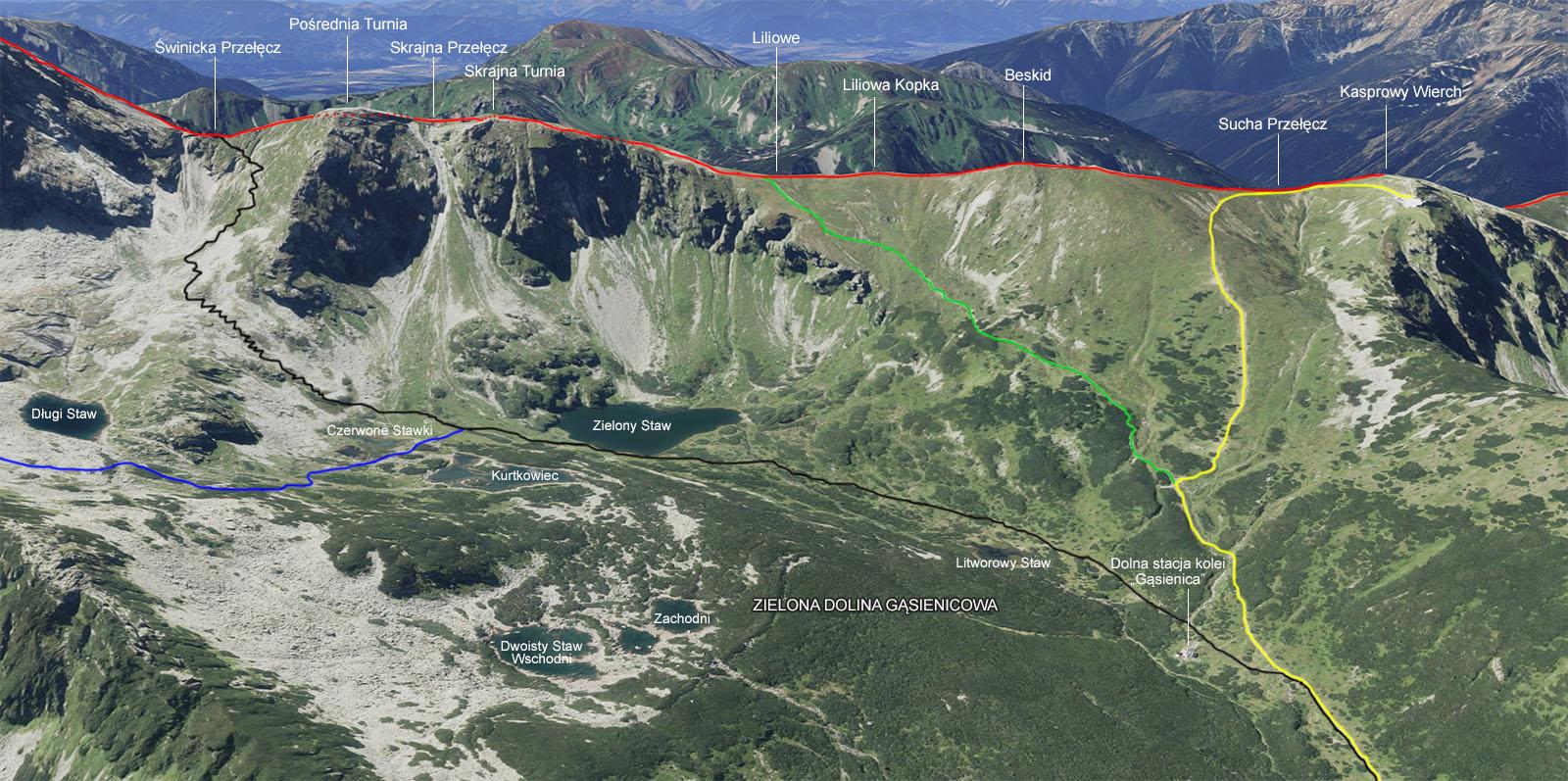 Szlak z Kasprowego Wierchu na Świnicką Przełęcz
