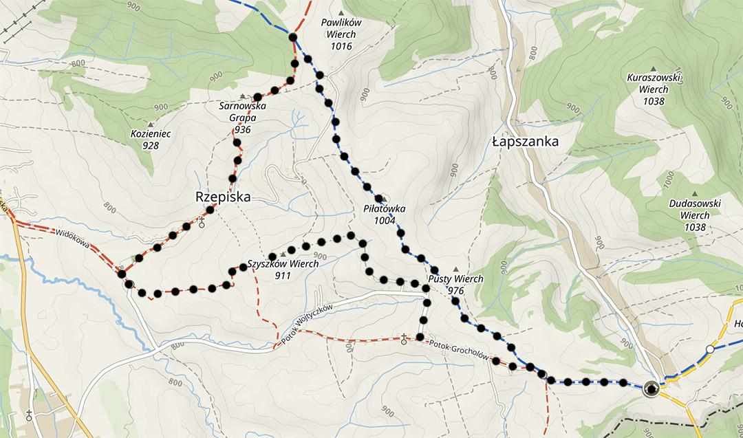 Szlaki na Spiszu, mapa trasy z Łapszanki