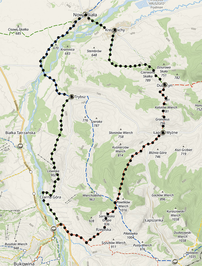 Mapa szlaków na Spiszu, trasa z Łapsz na Litwinkę