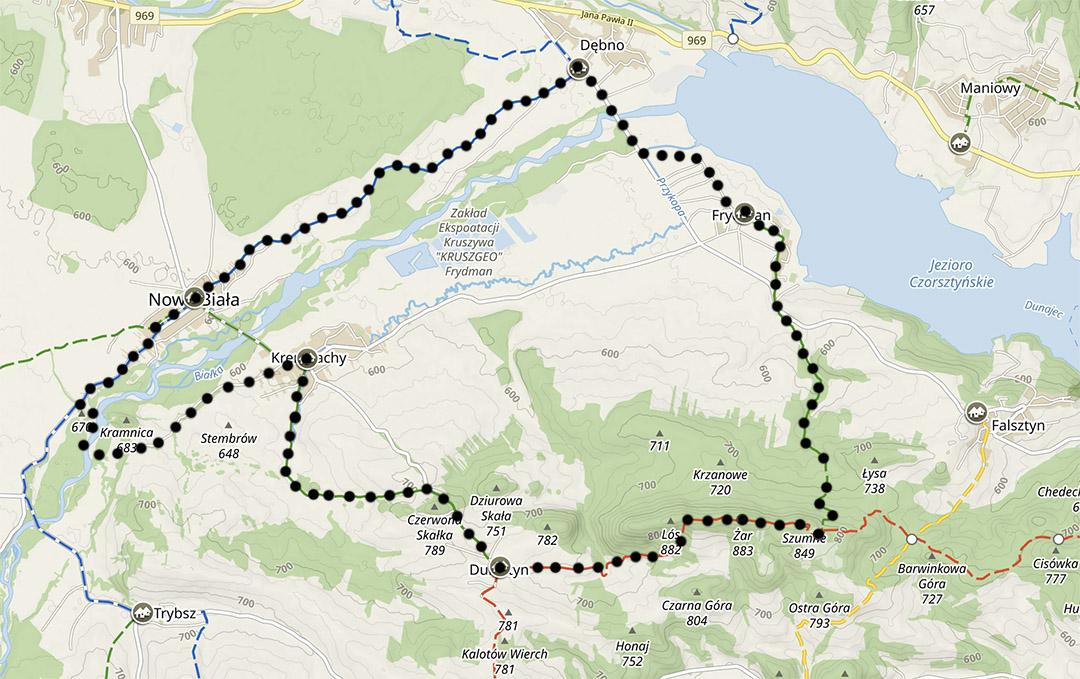 Mapa szlaków na Spiszu, wycieczka z Frydmana na Przełom Białki