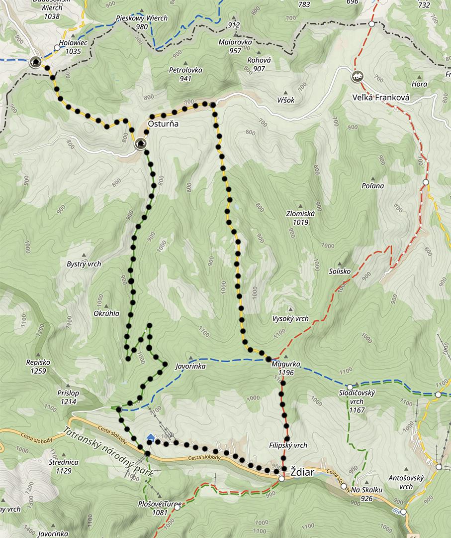 Mapa szlaków na Spiszu, trasa do Zdziaru