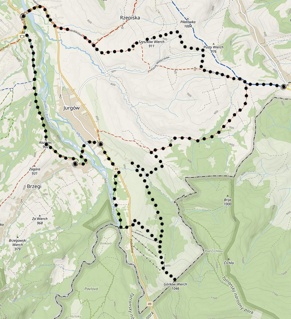 Szlaki na Spiszu, trasa do Jurgowa