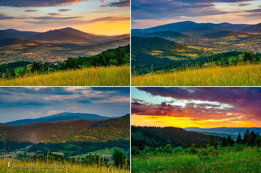 Góry o zachodzie słońca